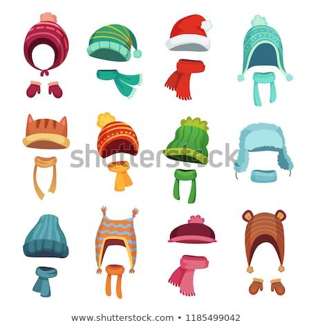 Stock fotó: Tél · kalap · izolált · fehér · gyerekek · divat