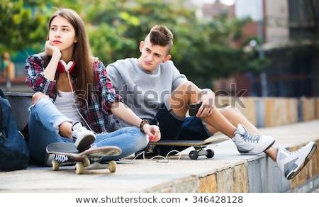 Portré zaklatott lány keresztbe tett kar kéz arc Stock fotó © AndreyPopov