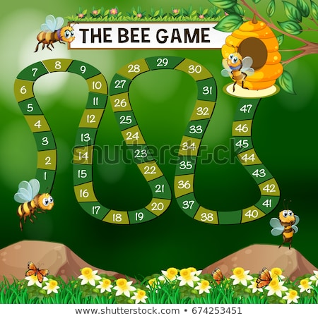 Game template with bees flying in garden Stock photo © colematt