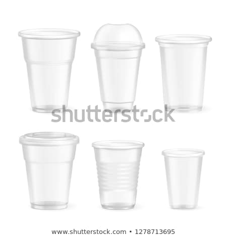 Plastic Cup Transparent Set Vector. Drink Mug. Disposable Tableware Clear Empty Container. Cold Or H Stock photo © pikepicture