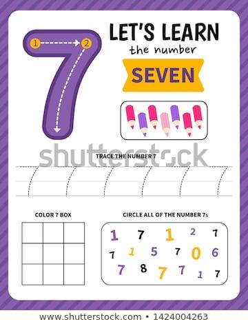 Number seven tracing worksheets Stock photo © colematt