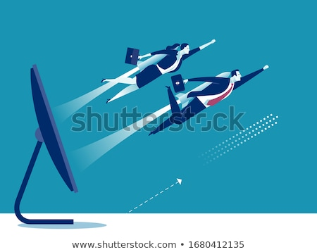 Computer Monitor and Rocket Vector Illustration Stock photo © robuart