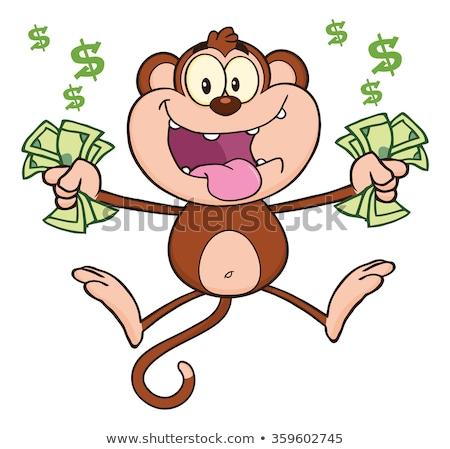 Funny Monkey Cartoon Character Jumping With Cash Money Stock photo © hittoon