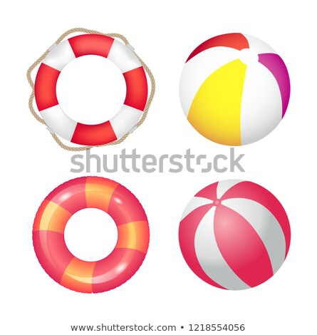 Inflatable Ring and Beach Ball Set Vector Banner Stock photo © robuart