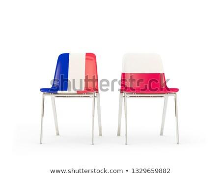 Dois cadeiras bandeiras França Polônia isolado Foto stock © MikhailMishchenko