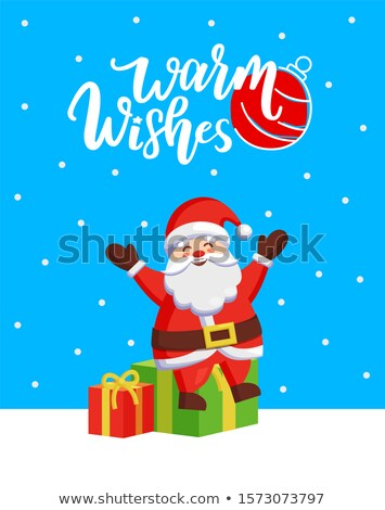 Warm Wishes Major Card with Santa and Gift Boxes Stock photo © robuart