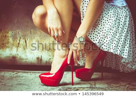 rosso · sexy · donne · scarpe · isolato · bianco - foto d'archivio © homydesign