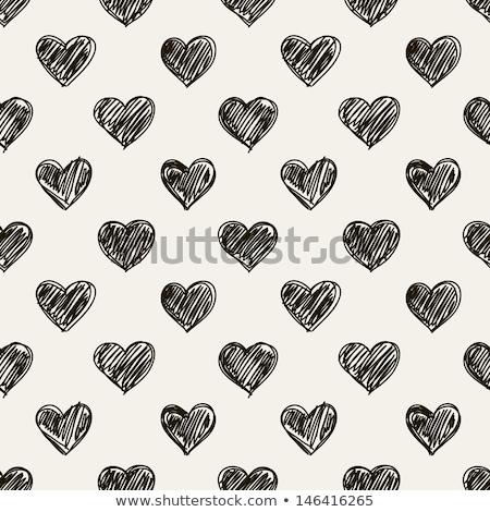 kézzel · rajzolt · szívek · végtelenített · valentin · nap · rajz · kifestőkönyv - stock fotó © lemony