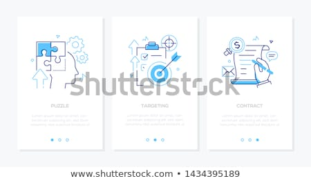 business and technology   set of line design style vertical web banners stock photo © decorwithme