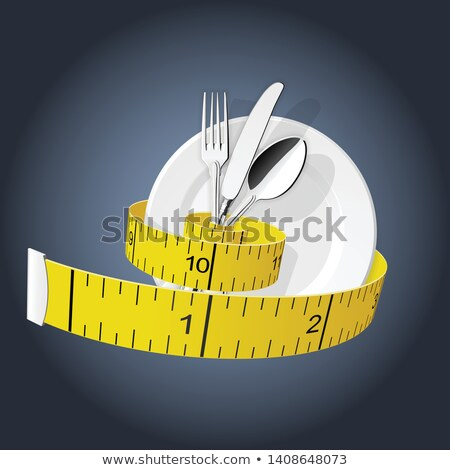 Diet - measuring tape tighten fork, spoon and plate - lose weigh Stock photo © Winner