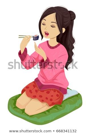 Teen Girl Kneel Sushi Stock photo © lenm