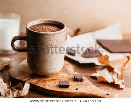 Közelkép forró csokoládé mályvacukor ünnepek csendélet gyertyák Stock fotó © dolgachov