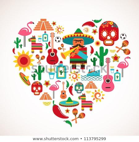 Mexikó szeretet szett szív vektor illusztrációk Stock fotó © netkov1