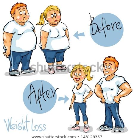 Weight Loss Man Transformation Vector Illustration Stock photo © robuart