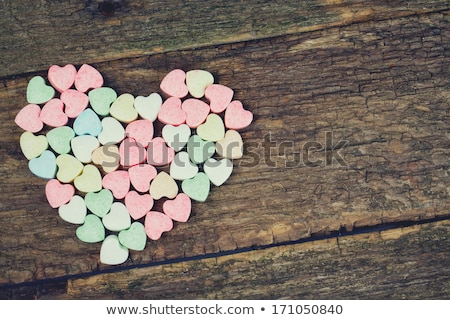 close up of red and pink heart shaped candies Stock photo © dolgachov