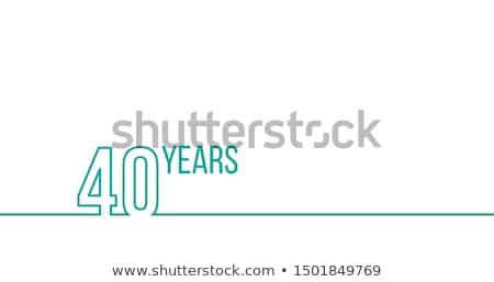 40 éves évforduló születésnap lineáris skicc grafika Stock fotó © kyryloff