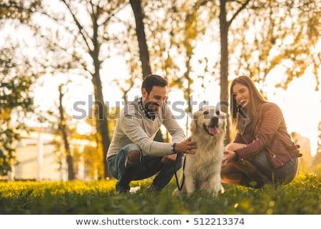 Сток-фото: пару · играет · собака · парка · женщину · человека