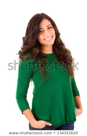 bright brunette girl isolated on a white background Stock photo © Lopolo