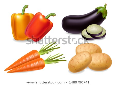 Stok fotoğraf: Havuç · biber · patlıcan · ayarlamak · vektör · gerçekçi