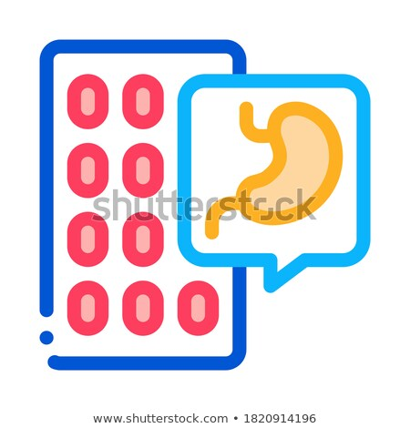 pills against stomach pain icon vector outline illustration Stock photo © pikepicture