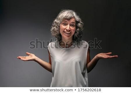 Belleza gris jóvenes morena dama vestido negro Foto stock © mtoome