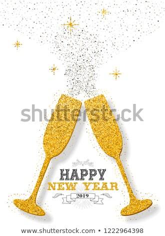 nowy · rok · banner · blask · szampana · butelki · luksusowe - zdjęcia stock © glyph