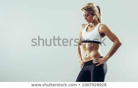 női · fitnessz · testépítő · pózol · fehér · nő - stock fotó © nobilior