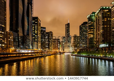 Cityscape Chicago sera luce notte skyline Foto d'archivio © AndreyKr