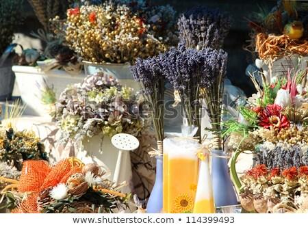 Gyógynövények fűszer levendula kézzel készített virág zöldségek Stock fotó © tannjuska