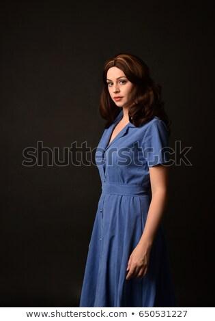aranyos · fiatal · nő · divat · klasszikus · kék · ruha - stock fotó © gromovataya