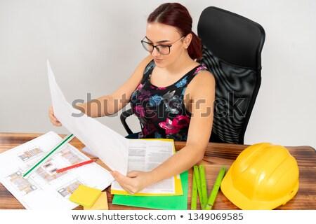 portré · női · építész · izgatott · tart · terv - stock fotó © wavebreak_media
