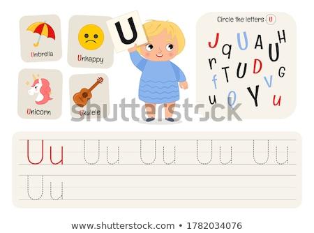 happy girl holding alphabet letters abc stock photo © len44ik