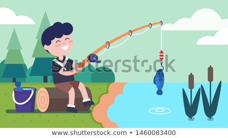 Fishing reel on Log in Lake  Stock photo © tab62