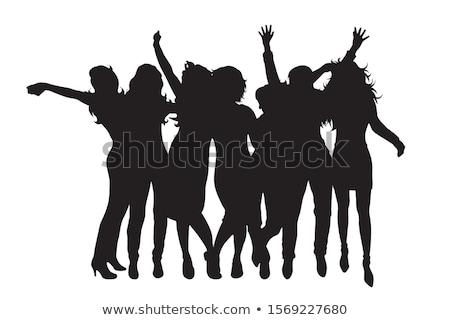 Meisje partij silhouet grunge sterren muziek Stockfoto © gubh83