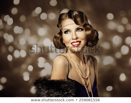 happy beautiful woman with pearls and evening make up jewelry stock photo © victoria_andreas
