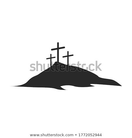 Bianco Gesù Cristo cross panorama montagna Foto d'archivio © hraska