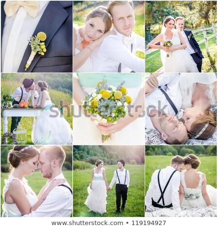 Collage boda fotos hermosa Pareja novia Foto stock © taden