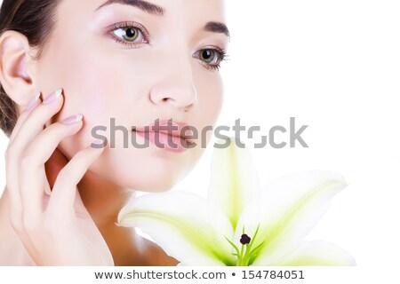 belo · cara · jovem · asiático · mulher · grande - foto stock © nobilior