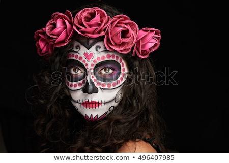 Vrouw geschilderd gezicht halloween make oog Stockfoto © pxhidalgo