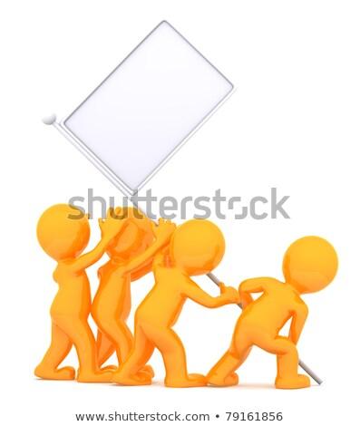 Сток-фото: группа · людей · флаг · реклама · изолированный · белый