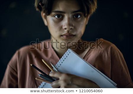 Jong meisje werken verf houten bureau Stockfoto © gewoldi