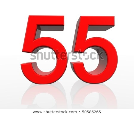 Red number 55 with reflection on a white background Stock photo © Zerbor