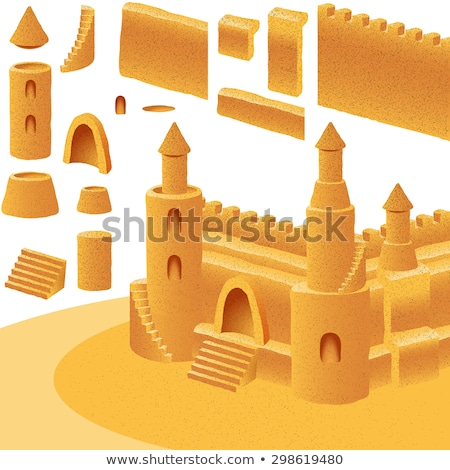 Sand castle with towers windows and stairs Stock photo © LoopAll