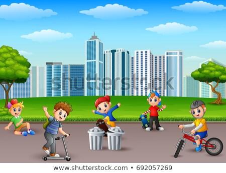 młodych · chłopców · gry · parku · dzieci · dziecko - zdjęcia stock © anmalkov