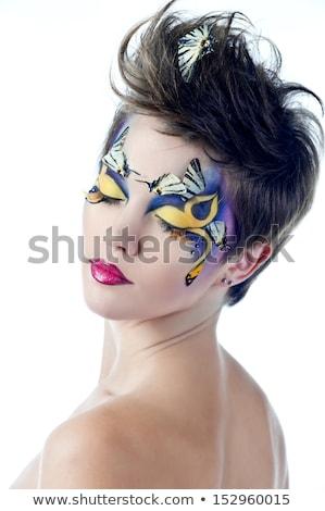 Stockfoto: Mooie · vrouw · perfect · vlinder · make-up · kapsel · portret