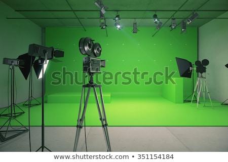 Green backdrop in a film studio Stock photo © bmonteny