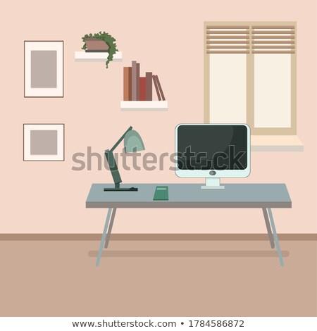 Eenvoudig freelance werken houten tafel voorraad foto Stockfoto © nalinratphi