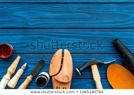 Klasszikus kés rozsdás fehér vágási körvonal fa Stock fotó © RedDaxLuma