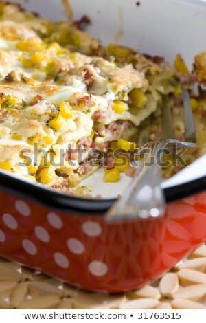 pasta baked with smoked meat and corn Stock photo © phbcz