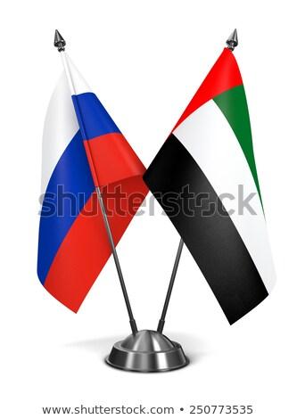 Россия Объединенные Арабские Эмираты миниатюрный флагами изолированный белый Сток-фото © tashatuvango